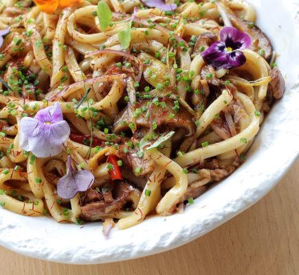 Noodles de Ternasco de Aragón - Método Restaurante
